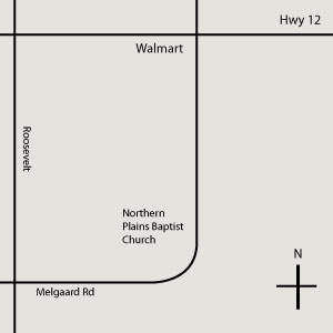 map to Northern Plains Baptist Church in Aberdeen SD